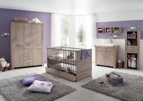 Olek 7tlg Babyzimmer Kinderzimmer Schrank Wickelkommode Bett Umbaubar Wandregal Eiche sägerau