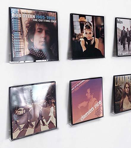 IEEK Vinyl-Schallplatten-Regal, Wandhalterung, 6 Stück, klar, Acryl-Album-/Schallplatten-Halter, Display Regal, zeigen Sie Ihr tägliches Hören stilvoll