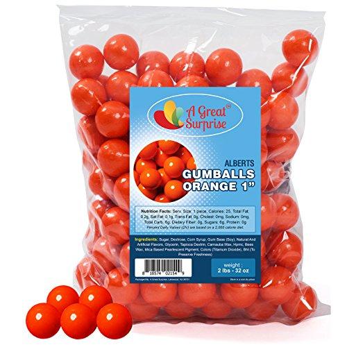 Gumballs in Bulk - Orange Gumballs for Candy Buffet - Shimmer Gumballs 1 Inch - Bulk Candy 2 LB