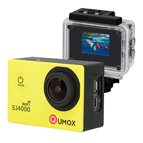 QUMOX WIFI SJ4000 Camera Giallo azione Sport Cam Waterproof Full HD 1080p 720p Video Helmet Cam con cassa impermeabile