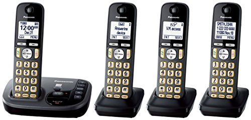 Price comparison product image PANASONIC Cordless Phone with Answering Machine KX-TGD224M - 4 Handsets (Black)