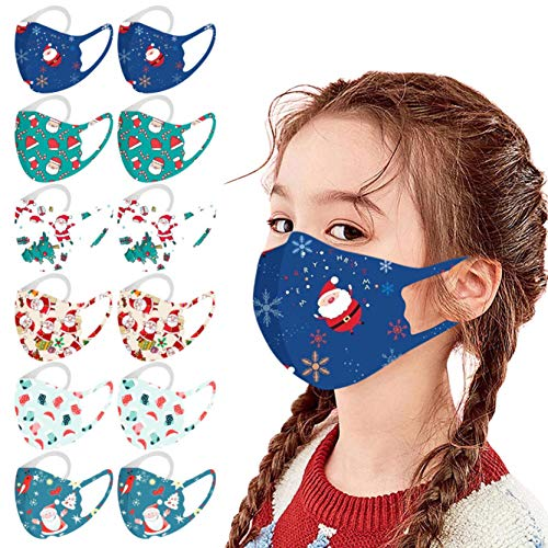 Gerichy Kids Face_Masks, 12PC Pack Christmas Print Childrens Face_Masks Reusable Washable Face Coverings Shield for Kids Outdoor Back to School Supplies