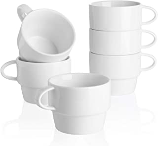 Sweese 407.001 Porcelain Latte Cups - Stackable Coffee Cups - 10 Ounce for Specialty Coffee Drinks, Cappuccino, Cafe Mocha...