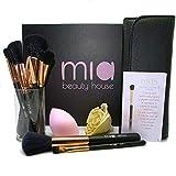 Mia beauty house   Set de pinceles de maquillaje profesional   Ocho pinceles con esponja de belleza   Práctico estuche en elegante caja de regalo   Pinceles de maquillaje