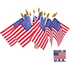 12 Pcs Small American Flags on Stick, Small US Flags/Mini American Flag on Stick 4''x6'' American Handheld Stick Flags with Kid-Safe Spear Top Independence Day, Victory Day, National Day etc