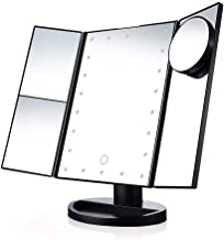 Lighted Makeup Mirror with 10X/3X/2X/1X Magnification, Trifold Vanity Mirror with 22 LED Lights, 180 Degree Free Rotation ...