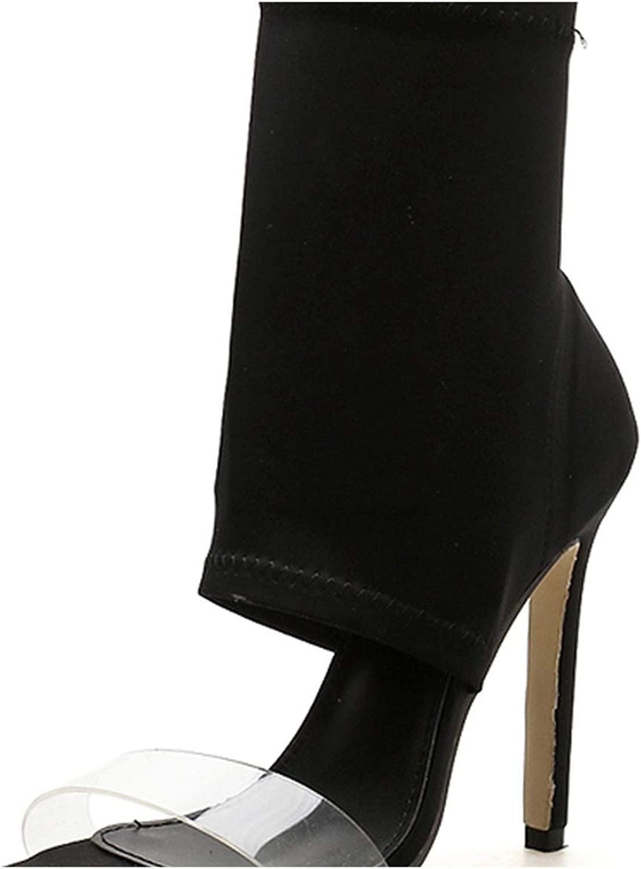 RAINIE002 2019 Stretch Fabricwomen Boots Sexy Gladiator Slip-On Peep Toe shoes Heelswomen Ankle Boot Size 35-40