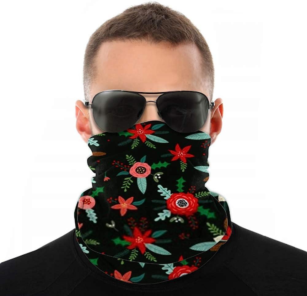 Headbands For Men Women Neck Gaiter, Face Mask, Headband, Scarf Christmas Seamless Pattern Flowers Turban Multi Scarf Double Sided Print Elastic Headbands For Sport Outdoor