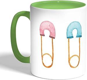 كوب سيراميك للقهوة، لون اخضر،  بتصميم دبوس اطفال