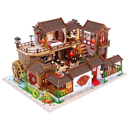 DIY House 3D Wooden DIY Miniature House Furniture LED House Puzzle Gifts Heimdekoration, Kunsthandwerk, Geburtstagsgeschenke, Valentine's Day (mit Musikbewegung)