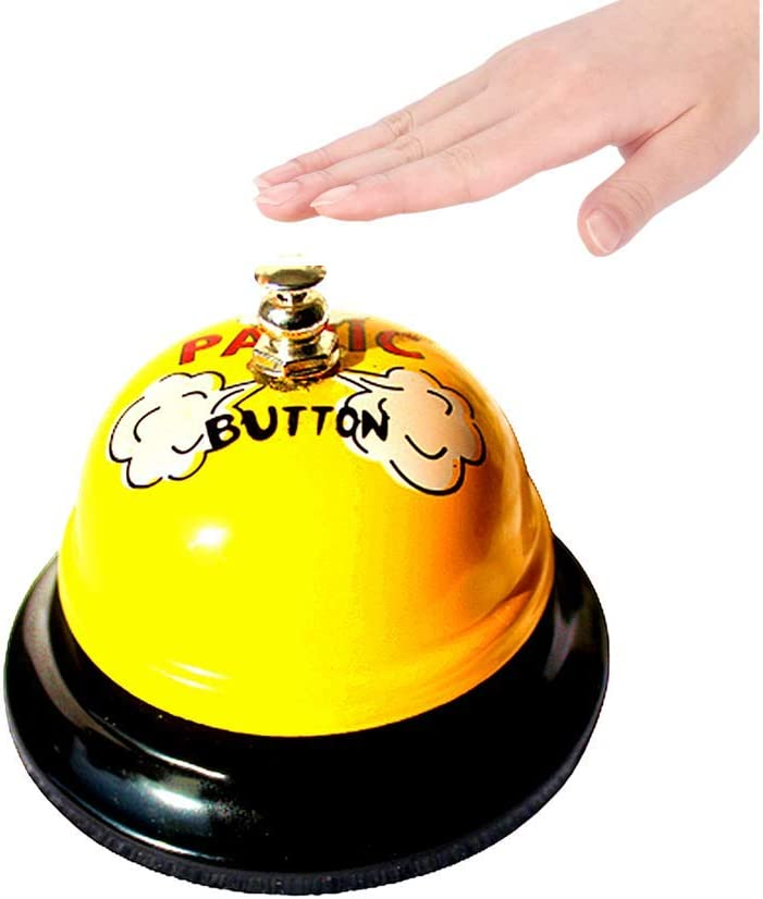 2 Piece Bell Ringer and Bell Signs Desk Ring Service Bell Bell Decor Call Bell Service Bell Cute Desk Call Bell Ring Call Restaurant Service Bell Logo (3.5 inches, Yellow)