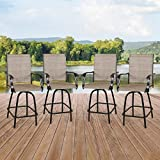 Peak Home Furnishings 4-Piece Outdoor Swivel Bar Stools, Textilene Patio Seating Height Bar Chairs with High Back and Armrest (Sling Seat, Set of 4)