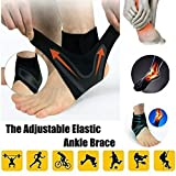 Raining 1 Pair Walk-Hero The Adjustable Breathable Elastic Ankle Brace,Anti-Sprain Ankle Support Brace Compression Sleeve Guard for Sports Basketball Soccer (M) -
