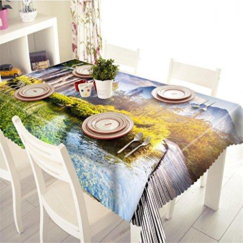 Polyester Nappe de table 3D Scène naturelle de la forêt Impression Étanche à la poussière Épaissi Cuisine Décoration Couverture de table , 4 , e