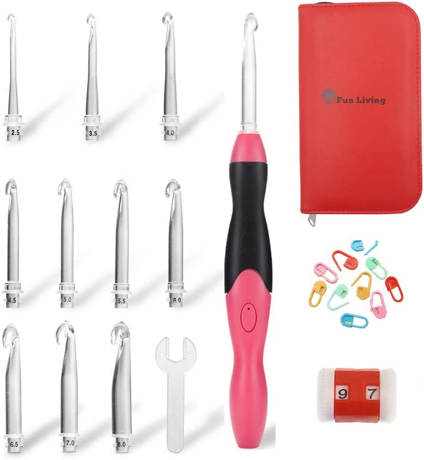 Fun Living Lighted Crochet Hooks Set Rechargeable up Light Purchase - Free shipping LED