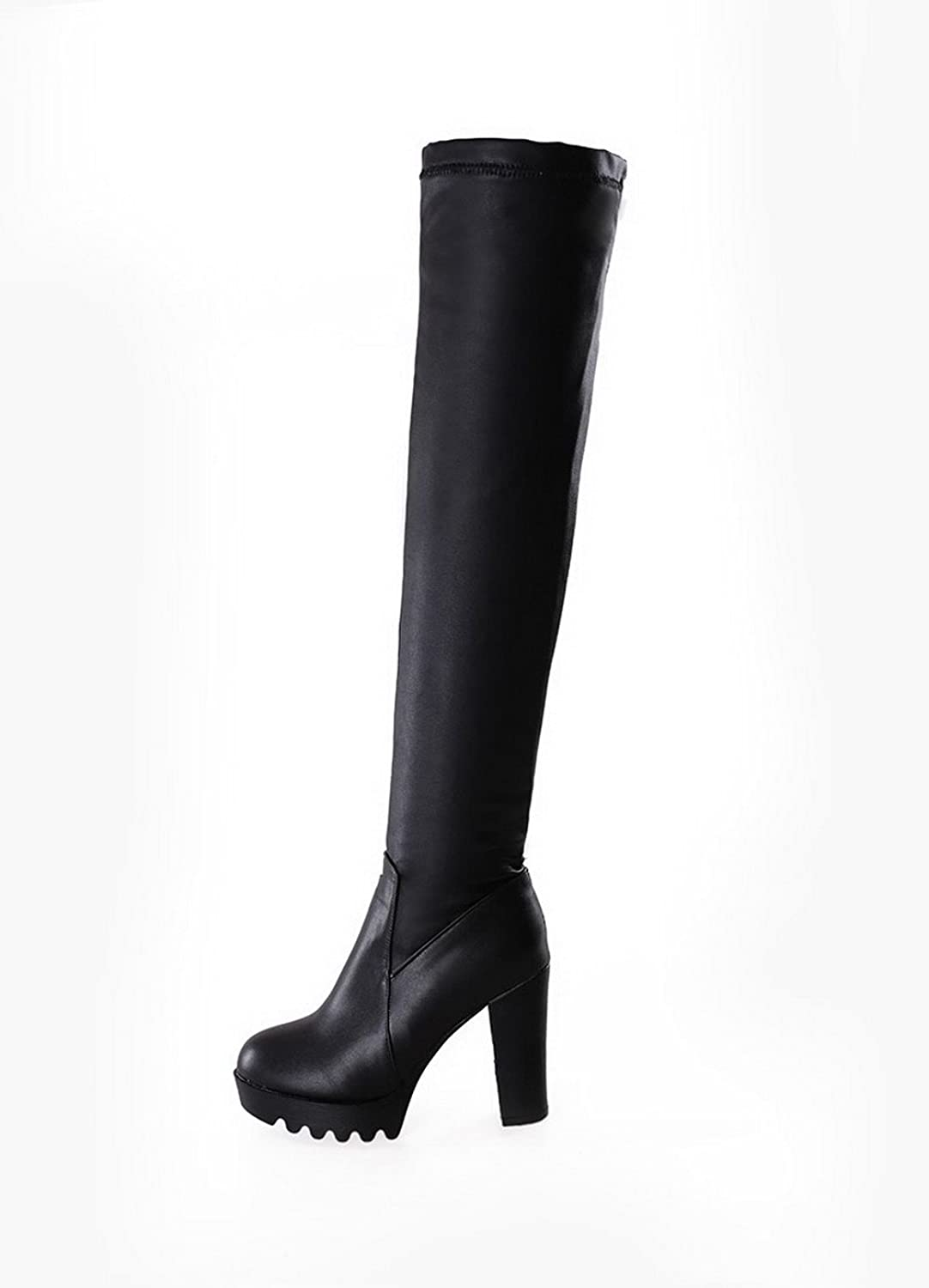 AmoonyFashion Women's Closed Round Toe PU Pull-On High-Heels Above-The-Knee Boots