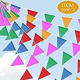 SaponinTree 200 Pezzi Multicolore Bandiere Triangolare, 100 Metri Nylon Fabric Bandierine ...