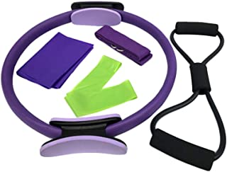 Garneck 5Pcs Fitness Circles Pilates Circle Exercise Bands Yoga Pull Belt Pull Ring Puller Resistance Exercise Fitness Exe...