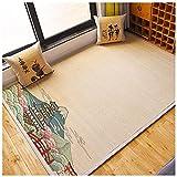 HANHJ Bambus Gewebt Teppich Teppich Für Schlafzimmer Wohnzimmer Balkon Homestay Japanische Stil Mat Teppich Dicke Schacht Wege Blank rutschfeste Bambus Boden Matte Läufer,F-90×180cm