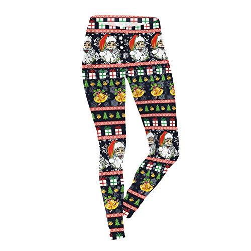 LCHENX-Leggings con Estampado Digital Santa Christmas para Mujer,Leggings de Yoga de Longitud Completa Fitness Running Medias de Pilates Pantalones Pitillo,A,S