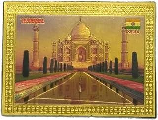 "Sankalan Art Gallery Indian Souvenir, Fridge Magnet Sticker, Tajmahal Motif, Made of Foil, Golden, Size 3"", 8 cm"