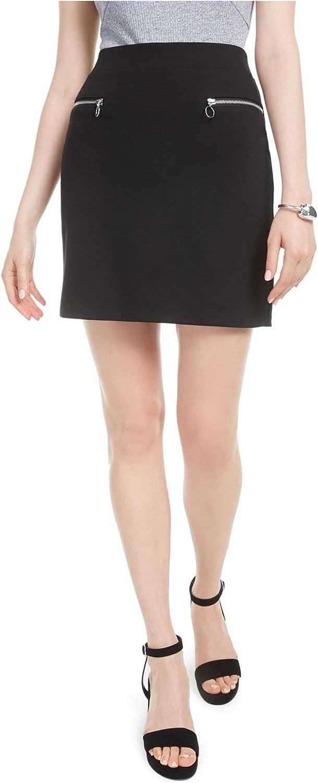 bar III Womens Zip-Trim Party Skirt Black XL