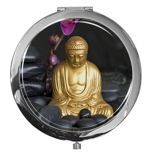 metALUm Premium - Miroir de Poche en métal chromé avec Un Motif Bouddhiste et Une Couche de résine synthétique Noble et Brillant - Un Accessoire idéal pour Toute Femme ou Un Cadeau
