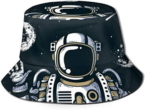 BONRI Sombreros de Cubo Transpirables con Parte Superior Plana Unisex Perro Cachorro Gafas Sombrero de Cubo Sombrero de Pescador de Verano-Astronautas cósmicos Espacio Planeta-Talla única
