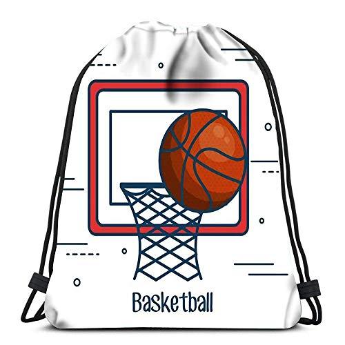 Tunnelzug Gymsack,Sporttaschen,Geschenktasche,Leichter Turnbeutel,Tanz Taschen,Basketballbrett Und Ball Über Weiß