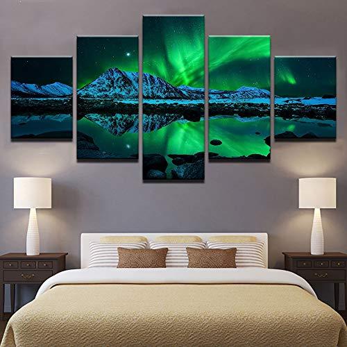 KANGZEDT Pintura sobre lienzo - 5 piezas 150*80CM Vista nocturna de la aurora boreal Cuadro sobre Lienzo - Modernos Mural - Impresión en Lienzo - Listo para Colgar - decoración del hogar Arte Cuadro