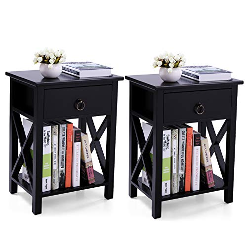 Set of 2 End Table for Living Room, X-Shaped Sofa Side Table with Storage Shelf, Modern Nightstand with Drawer for Bedroom, Black
