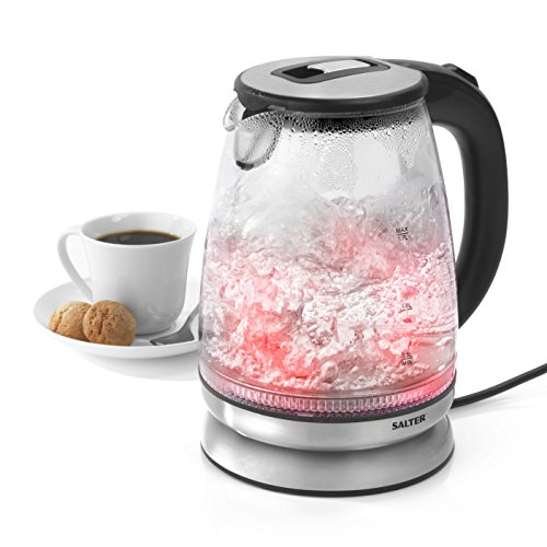 Salter EK2841SS Colour Changing Glass Kettle with Red-Blue LED Illumination, 2200 W, 1.7 Litre, Silver | Strix Controller | Anti-Scale Filter | 360° Swivel Base, Clear