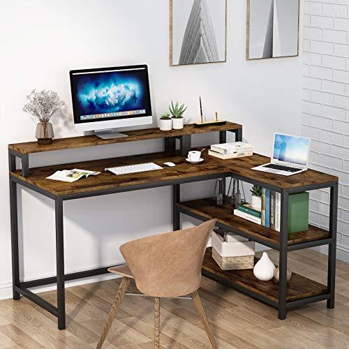 Tribesigns Escritorio en forma de L, mesa de esquina con estante de almacenamiento y soporte de pantalla, mesa de estudio, mesa de computadora, 120 x 100 x 90 cm