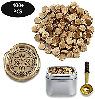 Premium Sealing Wax Beads 400-count in Tin with Melting Spoon-Gold