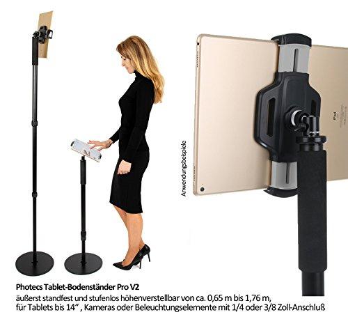 Photecs® Tablet-Bodenständer Pro V2, Boden-Stativ (höhenverstellbar bis ca. 1,76 m), Profi Tablet-Ständer/-Stativ mit hoher Standfestigkeit, für iPad Pro 12.9 oder andere Tablet-PC bis 14 Zoll