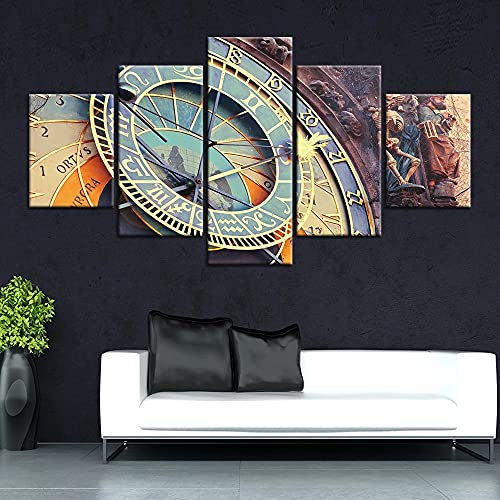 JINGMEI Five Canvas HD Murales Paisaje Moderno Reloj Esqueleto Y Personas Sala De Estar Dormitorio Restaurante Bar Decoración Cartel Creativo Abstracto