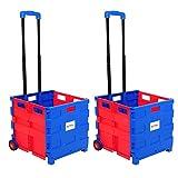 WOLTU EW4805rt 2er Einkaufswagen 64L Einkaufstrolley Einkaufsroller Shopping Trolley klappbar bis 35kg 100x42x40,5cm Blau-Rot