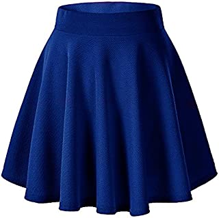 Payeel Women's Skirts Basic Stretchy Flared Casual Mini Skater Skirt