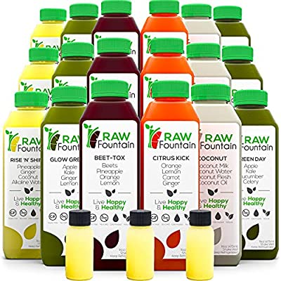 7 Day Juice Cleanse by Raw Fountain, All Natural Raw, Cold Pressed Fruit and Vegetable Juice, Detox Cleanse, 42 Bottles 16oz, 7 Ginger Shots by Raw Fountain Juice Inc