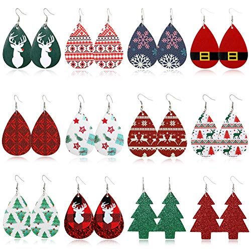 MTSCE 12 Pairs Christmas Leather Earrings for Women Xmas Lightweight Teardrop Dangle Earrings Drop Earrings for Girls Gifts Party Christmas Decorations (12 Pairs A Style)