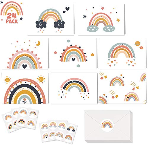 Boho Rainbow Greeting Cards with Envelopes Stickers Blank Note Cards Muted Rainbow Theme All Occasions Birthday Party Baby Shower Weddings Office Home School Set of 24