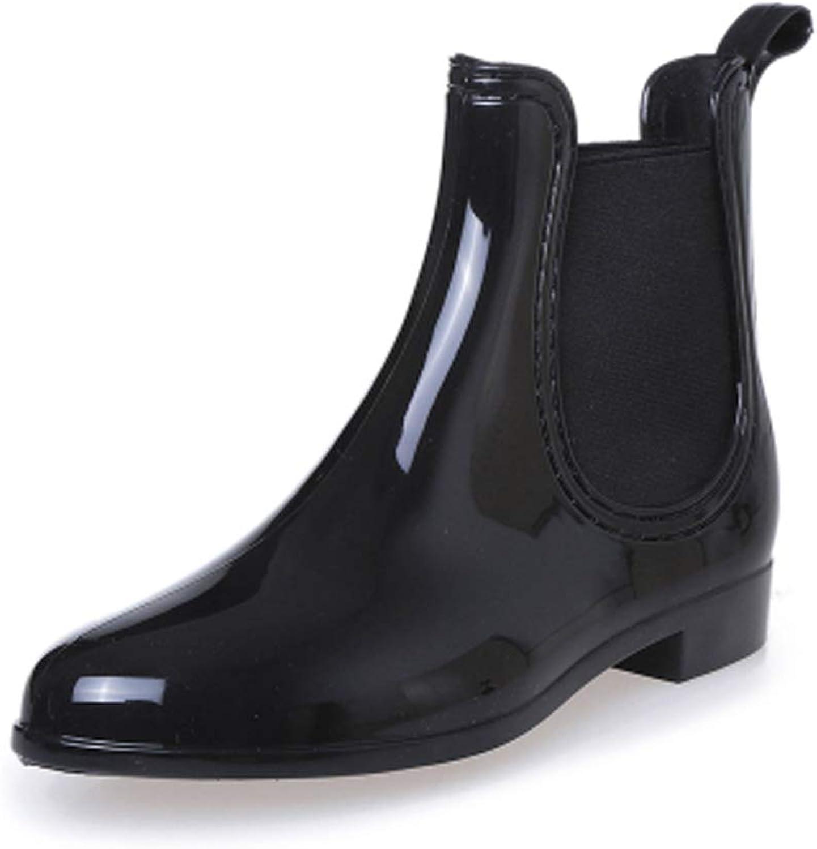 Fereshte Women's Short Ankle Rain Boots Waterproof Rubber Chelsea Booties B  Black EU37