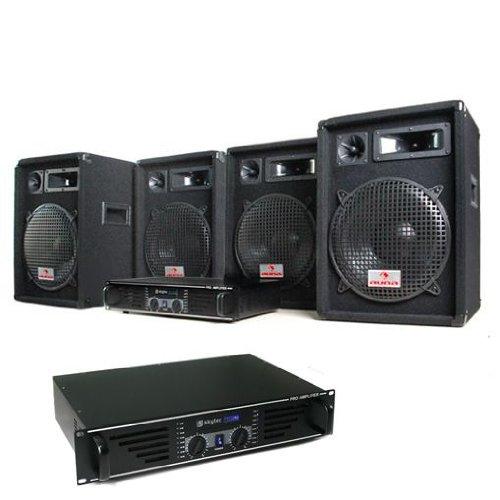 DJ set'Marrakesch Lounge PRO' impianto audio completo (4 casse AUNA diffusori 2400 Watt totali, 2 amplificatori SKYTEC finali di potenza, cavi per collegamento)