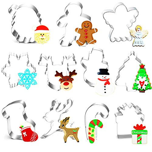 Formine Biscotti Natalizie, 11pz Tagliabiscotti Natalizi Set, Stampini Forme Biscotti Natale, Tagliapasta per Biscotti Bakeware Fondente Torta Paletta - Acciaio Inox
