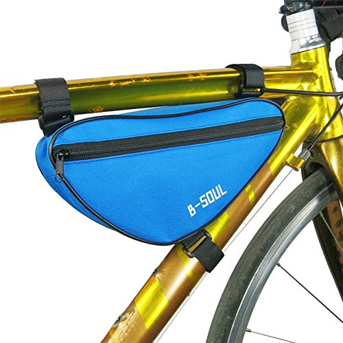 ZYBC Fahrradtasche Radfahren Vordere Oberrohrtasche Tasche Fahrrad DreieckTasche Vordere Sattelrahmen Tasche Für Outdoor-Mountainbike-Crossbar-Aufbewahrungstaschen Mit Reflektierendem Streifen (BL)
