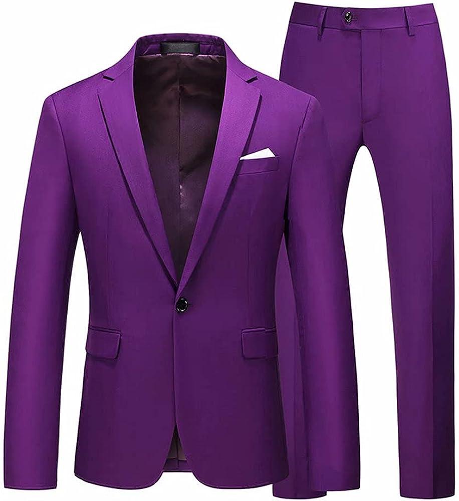 Men's 3 Piece Solid Color Blazer one Buttons Blazer Lightweight Business Coat