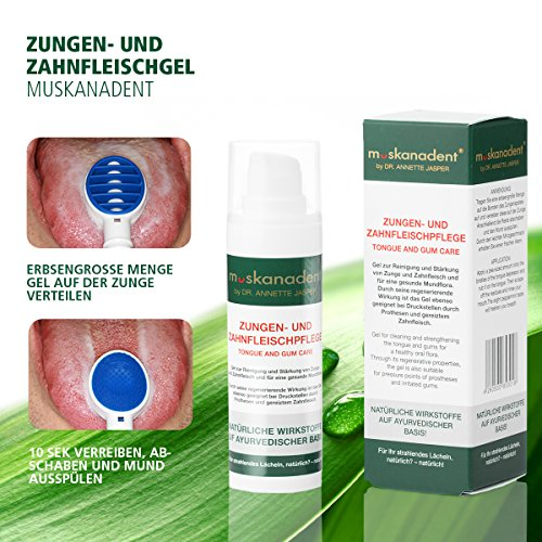 Premium Mund-Hygiene von Muskanadent | Dental-Hygiene Gel für Zunge und Zahnfleisch | Mit Salbei, Melisse, Neemöl und Nelkenöl, Pfefferminz | Ayurveda Naturkosmetik gegen Aphten | Vegan | 30 ml - 6