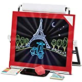 FAO Schwarz 2-Sided 3-in-1 Easel Set with LED Lights and Dry Erase Board, Chalkboard, and Paper Roll, 5 1/2' x11' x 9 1/2'/4 lb., Red/ Black, Pack of 1