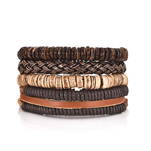 DALARAN 4Pcs Braided Leather Bracelet Men Cuff Wrap Wristbands Adjustable Wooden Beaded Bracelets Fathers Day Gifts