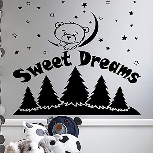 Bär Aufkleber Baby Kindergarten Wandtattoo Zitat Süße Träume Sterne Mond Dekorative Kind Kind Kindergarten Schlafzimmer Studie Aufkleber 109x107cm